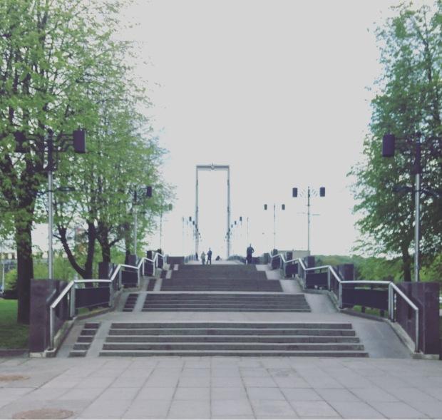 Ponte pedonale sul fiume Nemunas, Kaunas, Lituania, Lietuva