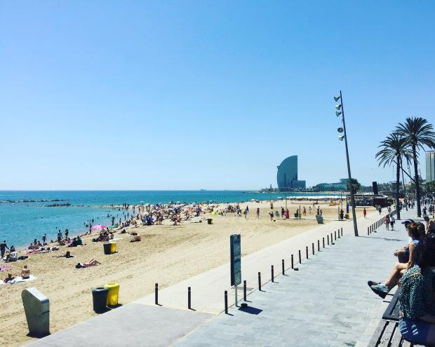 Barceloneta spiaggia, Barcellona, Barcelona, Spagna, Spain, Catalunya