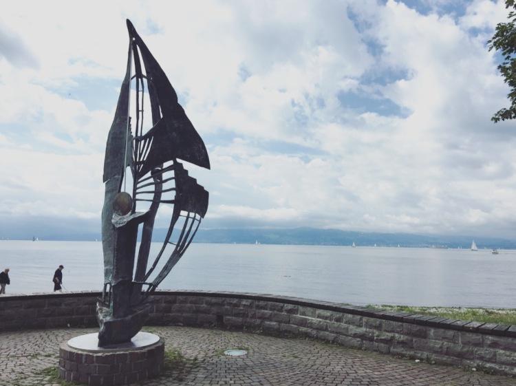 Langenargen statua, lago, Bodensee, lago di Costanza