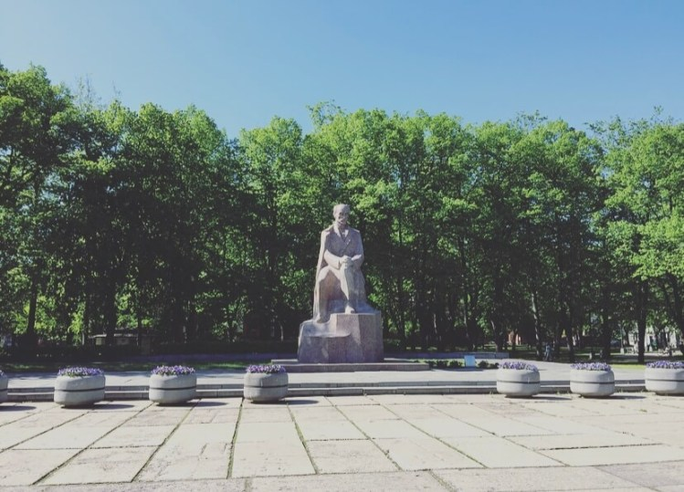 Lettonia, Riga, Monumento al poeta lettone Janis Rainis.